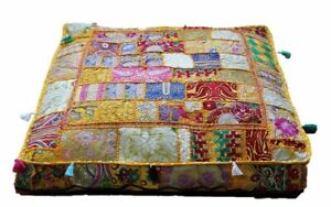"""Indian square 35"""" Vintage Yellow cotton patchwork heavy duty ottoman puff cover"""