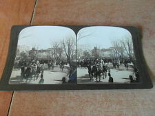 1 x PHOTO STEREOSCOPE STEREOGRAPH 1902 ARRIVING CARRIAGE PRINCE HENRY W. HOUSE