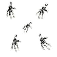 20 x Tibetan Silver Skeleton Hand Pendant Charms 3d Halloween