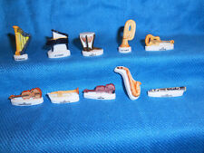 Orchestral MUSICAL INSTRUMENTS Set 10 Mini Gold Figurines FRENCH Porcelain Feves