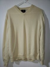 Black Brown 1826 Mens Cashmere V-Neck Sweater Yellow Size Large