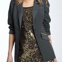 Free People Size 4 Charcoal Studded Blazer Jacket