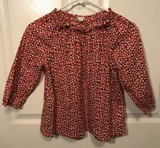 Girls CREWCUTS J CREW Top Shirt Blouse Red Navy White Hearts Valentine's Day
