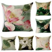 "18"" Hand-Painted Lotus Linen Sofa Decor Pillow Case Car Waist Cushion Cover"