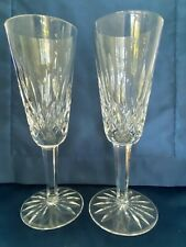Set Of 2 Waterford Lismore Champagne Flutes 7 1/4 Glasses