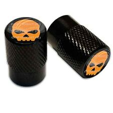 2 Black Billet Aluminum Knurled Tire Valve Caps - Orange Skull B