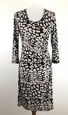 Calvin Klein Sheath Dress Beige Black Ruched Waist Surplice Work Stretch size 8