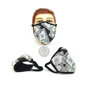 Money Print Face Cover Bandana Nose and Mouth Washable USA Made Handmade Mask