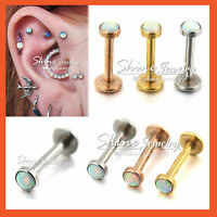 Silver Rose Gold Opal Ring Bar Stud Labret Lip Ear Helix Tragus Earring Piercing