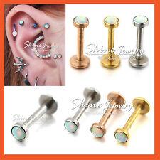 Opal Turquoise Ring Bar Stud Nose Labret Lip Ear Earrings Helix Tragus Piercing