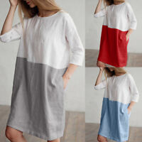 Women's Casual Patchwork 1/2 Sleeved Cotton Linen Plus Loose Pockets Tunic Dress