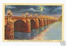 Market Street Bridge at Night in Harrisburg, PA  Color Linen Postcard