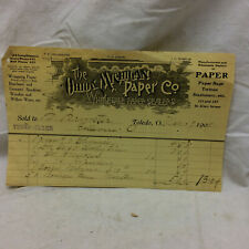 Vintage 1909 Advertising Receipt Bill The Ohio & Michigan Paper Co. Toledo Ohio