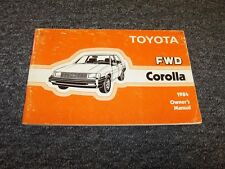 1984 Toyota Corolla Sedan Owner Owner's Operator Guide Manual DX LE 1.6L 1.8L