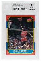 Michael Jordan Bulls 1986-87 #57 Fleer Rookie Card NM MT BGS 8