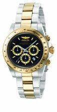 Reloj de Pulsera Invicta para Hombre Speedway Negro Y Gold Tone Dial Pulsera dos tonos 9224