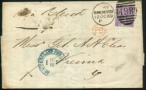 GB 1869 (Oct.12) outer to Vienna, 6d mauve Pl. 8 SG.109 tied by MANCHESTER 498