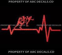 VRS Heart Beat Line FOOTBALL Special Teams Kicker Punter Ball CAR METAL DECAL