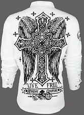XTREME COUTURE by AFFLICTION Mens BUTTON DOWN Shirt FREE TO LIVE Cross Wings $78