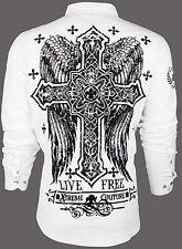 Xtreme couture by affliction para hombres Camisa con botones libre para vivir Cruz Alas $78