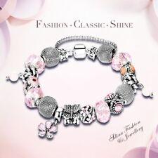 18K White Gold Filled Crystal Snake Chain Butterfly Flower Strand Charm Bracelet