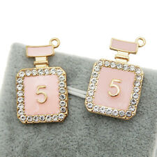 12PCS Vintage Alloy Enamel Gold Pink Perfume Bottle Jewelry Charms Pendant 39235