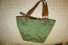Tommy Hilfiger Large Tote Bag Green Fabric Faux Leather Trim Beach Satchel