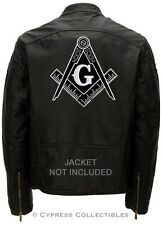 LARGE MASONIC BIKER PATCH *BLACK* EMBROIDERED IRON-ON Mason Freemason COMPASS