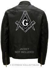 LARGE MASONIC BIKER PATCH *BLACK* EMBROIDERED IRON-ON Mason Freemason COMPASS