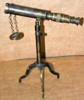 "Vintage brass maritime telescope 10"" w.ottway spyglass scope brass tripod stand"
