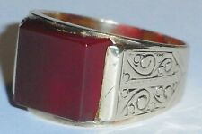 9ct Gold Carnelian Gents Ring,Size O,London Hallmarked 1962,6.8 grams