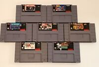 Mixed Sports Lot of 7 SNES Games Cartridge Only Guts NHL Bulls WWF NFL TESTED