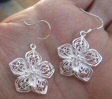 Pair Sterling Silver Flower Earrings