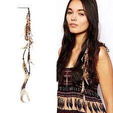Boho Long Multi Feather Beads Silver Hair Pin Cuff Comb Headband Hair Accessorie