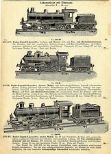 Lokomotiven mit  Uhrwerk.Sechs Modelle.  Historische Reklame von 1909