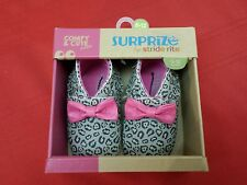 Baby Girl Shoes 6-12 Mo. NEW Surprize by Stride Rite Gray Black Pink Bow Frige