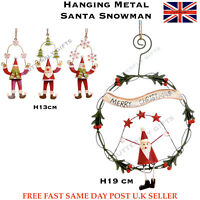 Christmas Hanging Xmas Tree Decoration Metal Santa Snowman Assorted Design Size