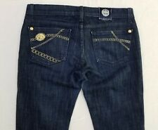 Rock & Republic Jeans Women's 28 34L Bootcut Stretch Dark Wash Whisker Fade YU