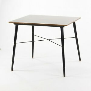 C. 1954 Eames Herman Miller DTW 4 Dining Table White Laminate Top & Cross Brace