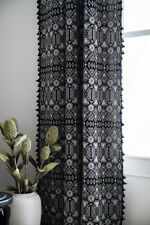 Black Curtain Bohemian Tassels Curtains Drapes Windows Screen Bedroom Home Decor