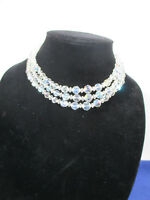 Crystal Necklace AB Glass Vintage 3 Strand Faceted Ball Diamond Beads Choker