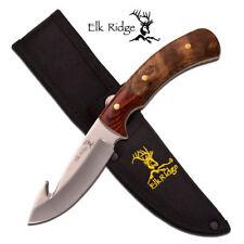 "Elk Ridge ER-558 Fixed Knife 4"" Guthook Blade Burl/Pakkawood Handle"