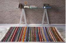 ❤️ Multi Colour Cotton Yarn Fringed Rug LARGE & RUNNER Indian Yoga Mat