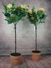 2 künstliche Rosenbäume 100cm getopft gelbe Blüten Rose Kunstblumen Kunstrosen