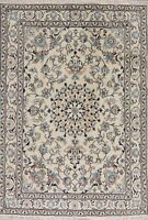 Ivory Floral Oriental Nain Area Rug Hand-Knotted 5x8 Traditional Kitchen Carpet
