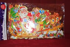 2 x Jumbo FOILED Christmas Window Plaques Santa in Sleigh (Lot 117)