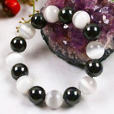 12mm White Cat's eye Opal Black Agate Beads Stretchy Bangle Bracelet