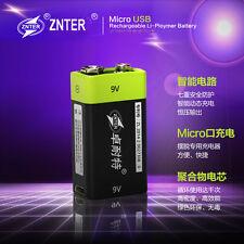 ZNTER  9V 400mAh USB Rechargeable li-ion 9V Lipo Battery microphone Battery 1pc