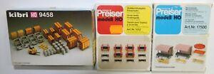 Kibri H0 9458 Kleincontainer +Ladegut, Preiser Marktstände, Schlauchhaspeln Feue