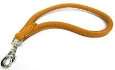 Laisse en cuir, Petit guide , laisse courte, 35 cm long, 12mm cognac-chrom